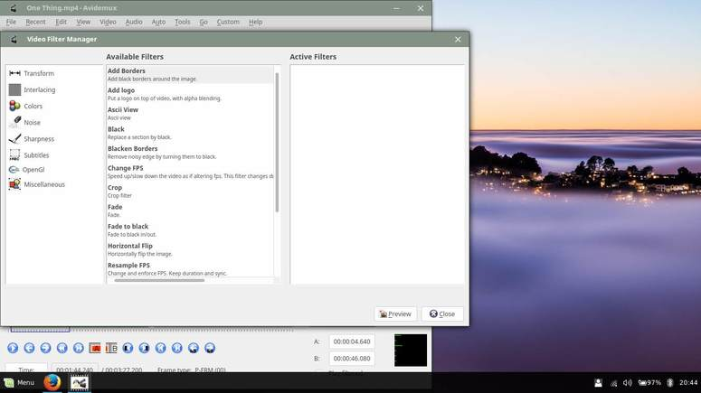 apply filters to video in avidemux