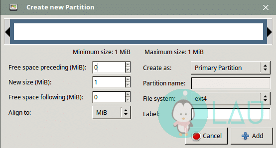create new partition with gparted