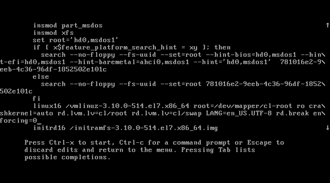 resetting root password of centos