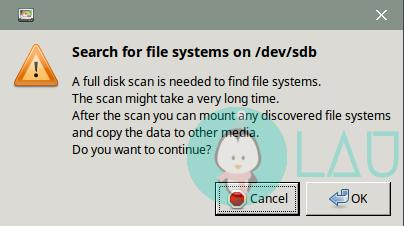scan disk partition in gparted